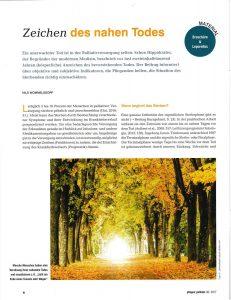 Zeichen des nahen Todes (Nils Wommelsdorf, Auszug aus: pflegen:palliativ 36/2017 Lebensende Fischer Verlag)
