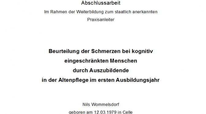 Nils Wommelsdorf Pdf Beurteilung Der Schmerzen Bei Kognitiv Eingeschrankten Menschen Durch Azubis Hausarbeit