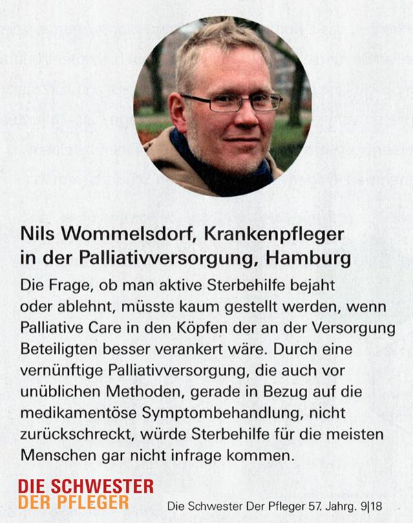 """Zitat Nils Wommelsdorf zu """"Aktive Sterbehilfe"""" in """"Die Schwester Der Pfleger"""" 09/18"""